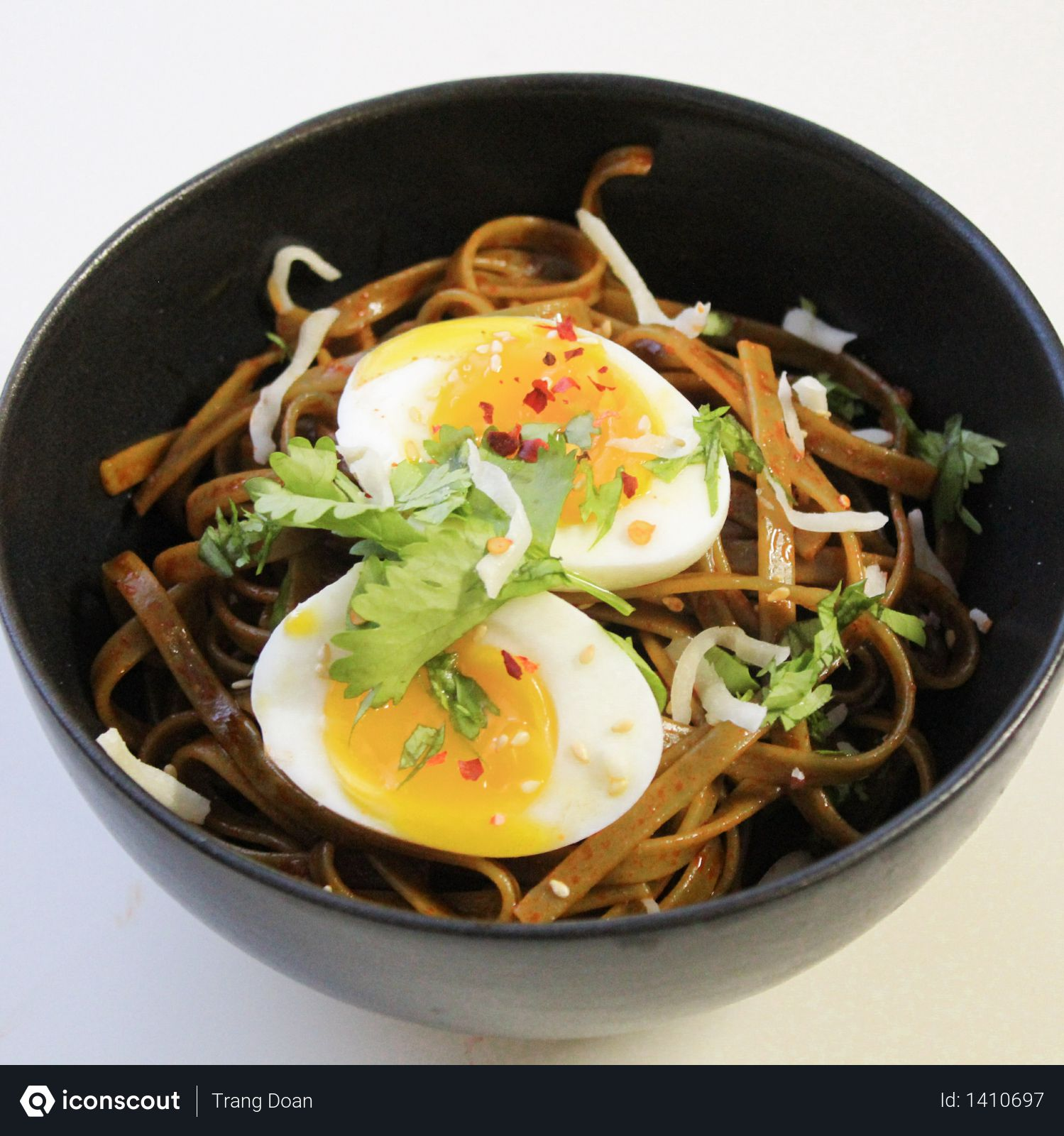 Bowl Filled With Noodles and Hard Boiled Egg Photo