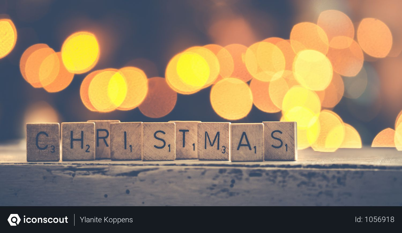 Christmas Scrabbles Bokeh Photography Photo