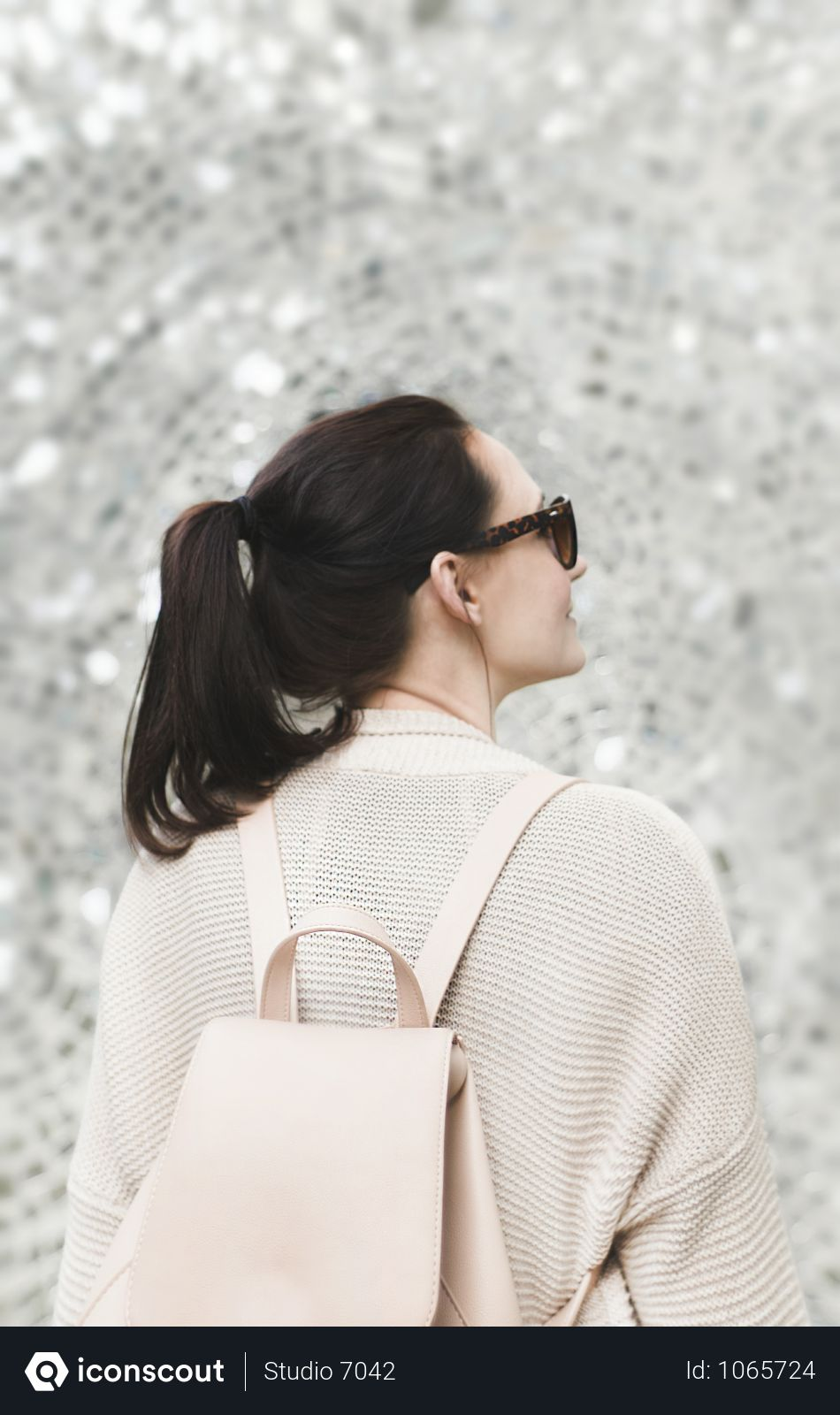 Free Woman Wearing White Sweatshirt And Backpack Photo Download In Png Jpg Format