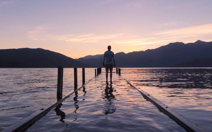 Free Alone Man Walking On Beach Photo download in PNG & JPG format
