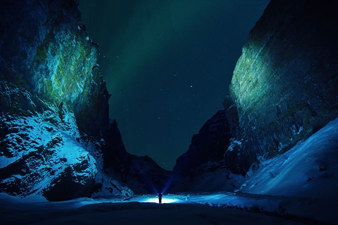 Polar Lights On Mountains
