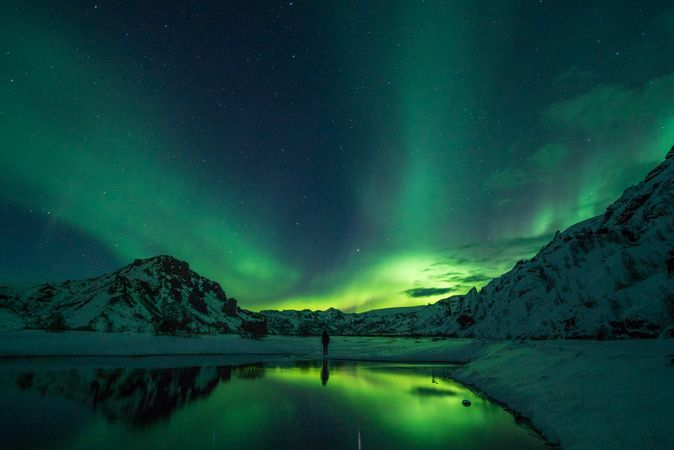 Reflection Of Green Polar Lights In Lake