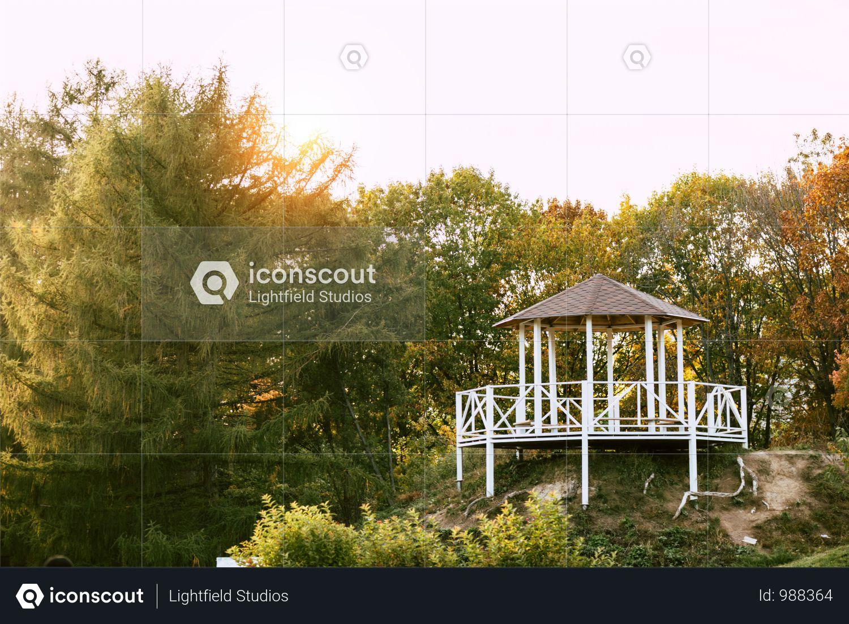 Alcove Near Lake In Beautiful Autumn Park Photo
