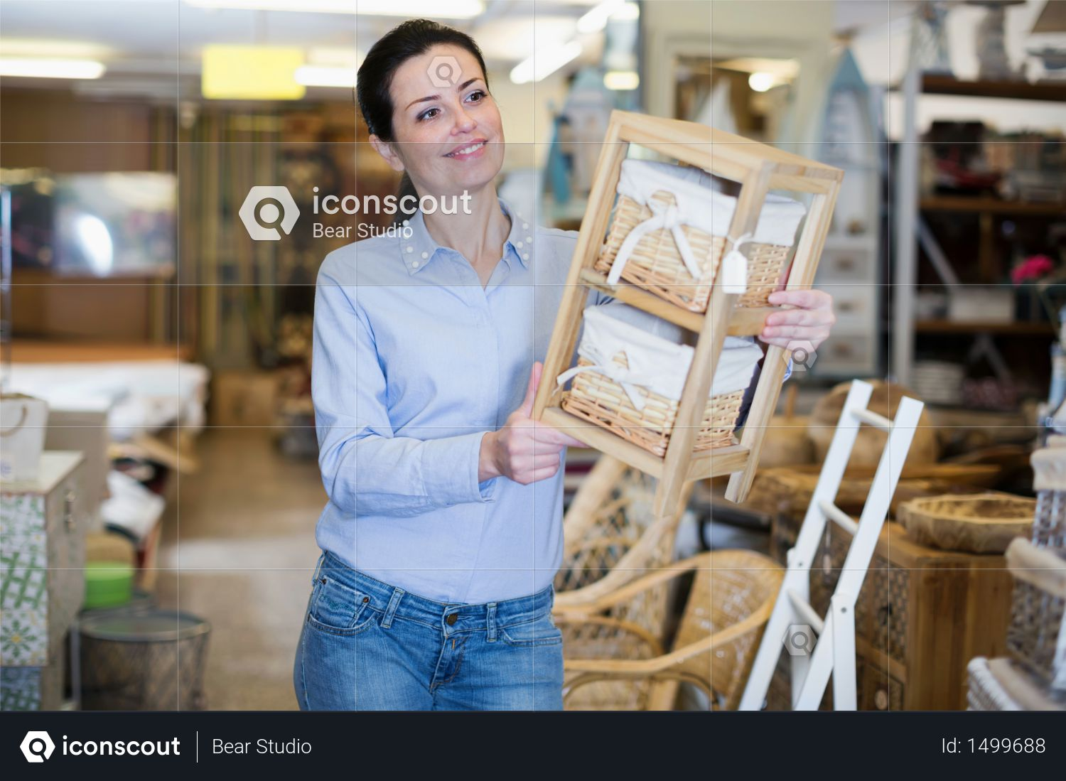Premium Beautiful Woman Looking Wooden Items For Her Apartment In A Modern Home Decor Store Photo Download In Png Jpg Format