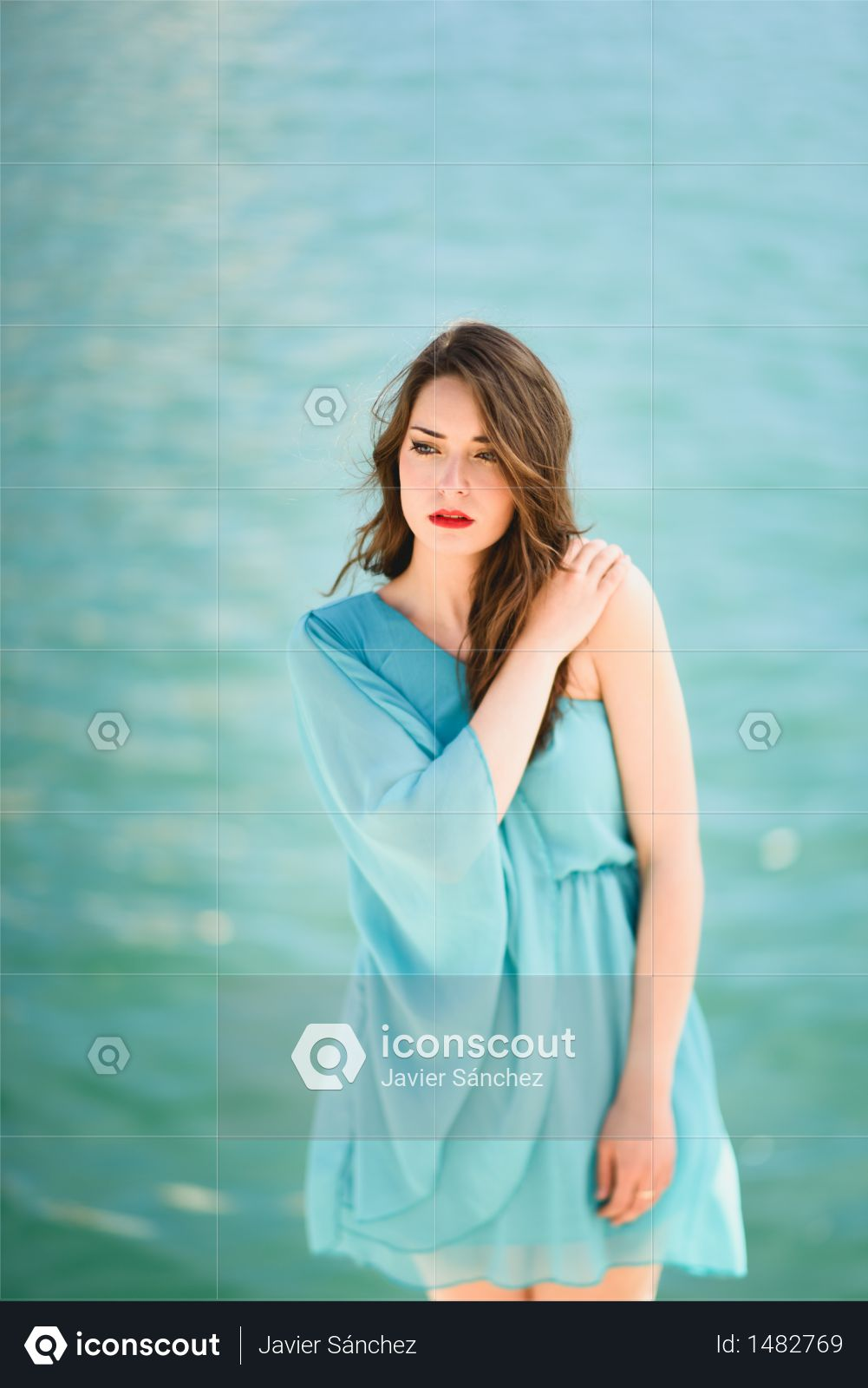 Premium Beautiful Young Woman With Blue Eyes Wearing Blue Dress In The Beach Photo Download In Png Jpg Format
