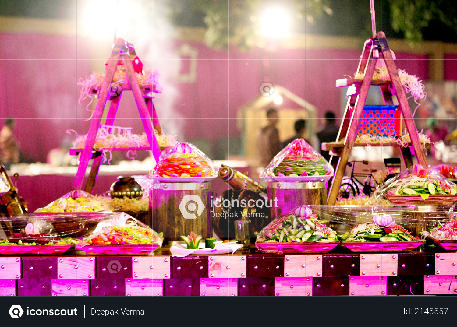 Beautifully decorated catering banquet table with variety of different food snacks and appetizers on party event or wedding celebration Photo