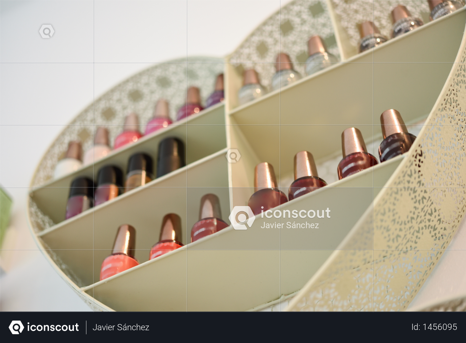 Bookcase with nail polish with heart shape in cosmetic section in store Photo