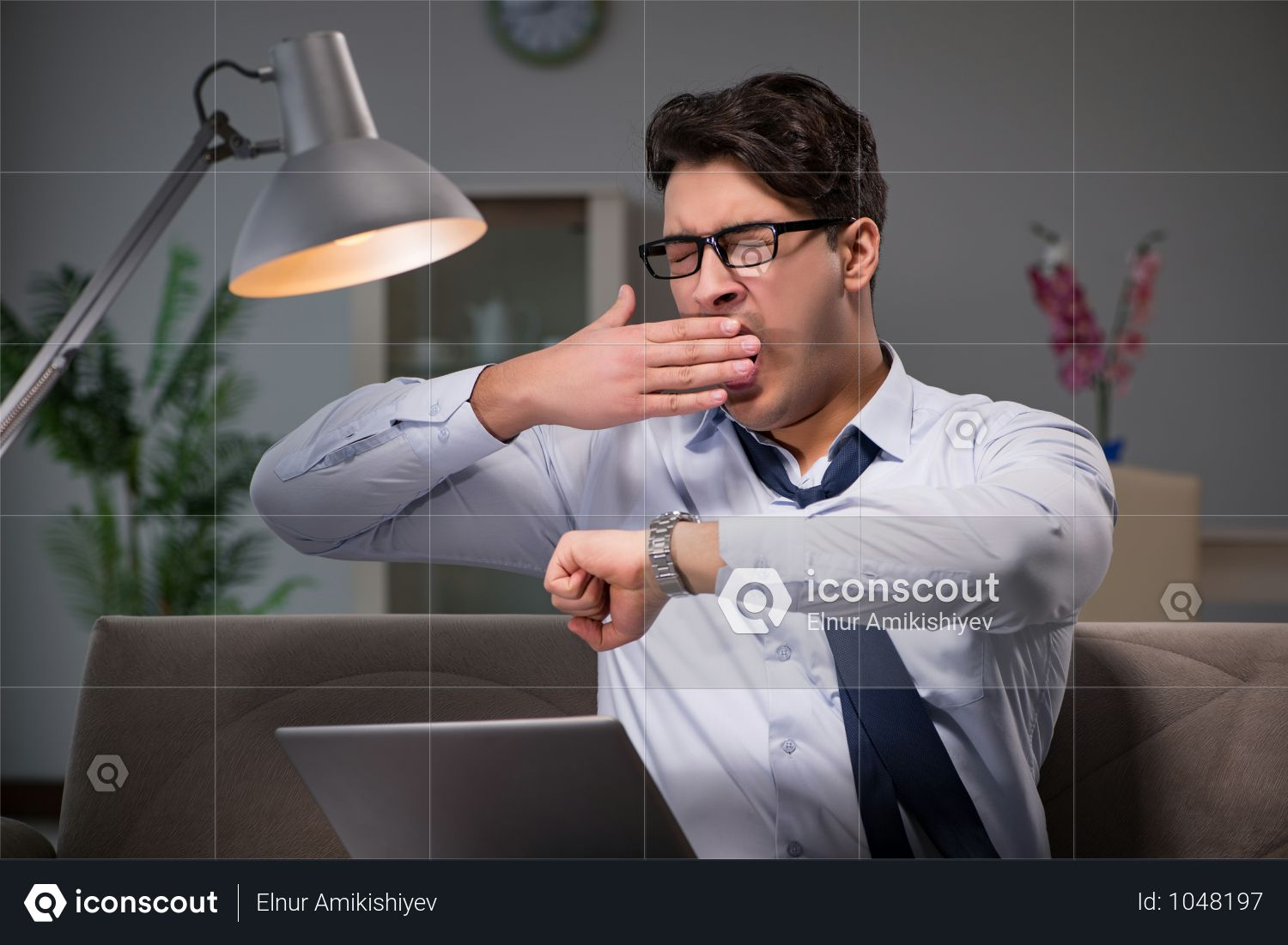 Businessman Workaholic Working Late At Home Photo