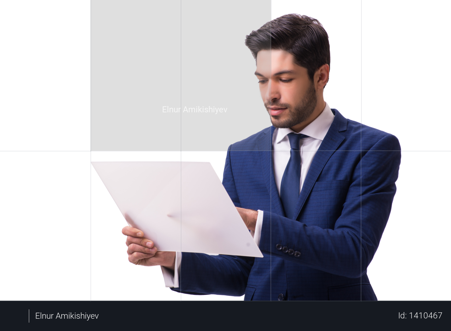 Businessman working on tablet isolated on the white background Photo