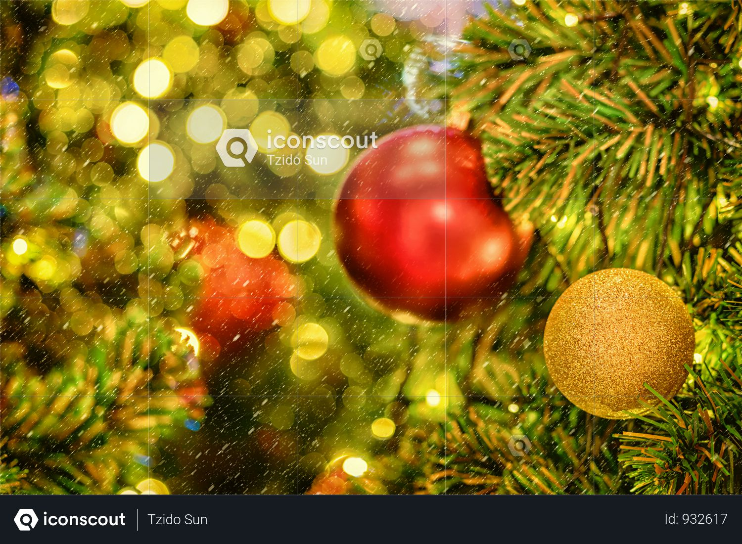 Christmas Tree Background Over The Abstract Blurred Bokeh Photo