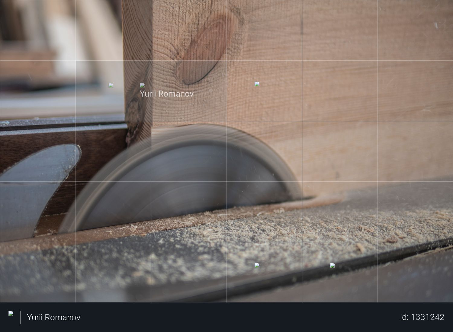 Circular in action. table saw rotates saw blade Photo