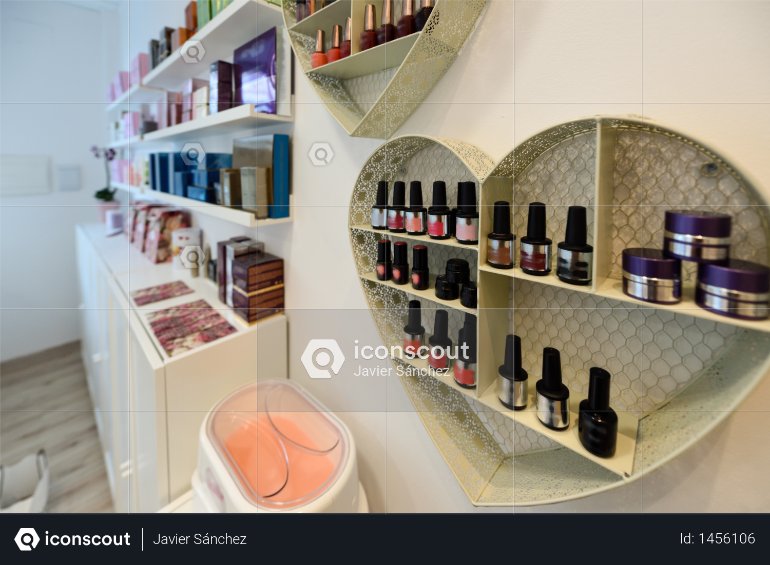 Cosmetic section with nail polish, facial cream, conditioners, shampoo and hair treatment in store Photo