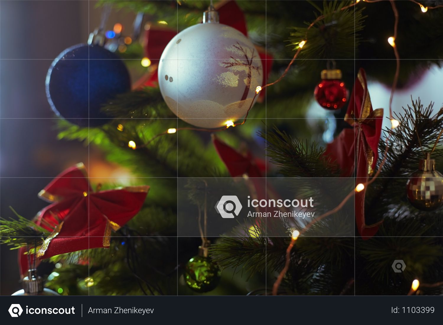 Decorated Christmas Tree With Light String Photo