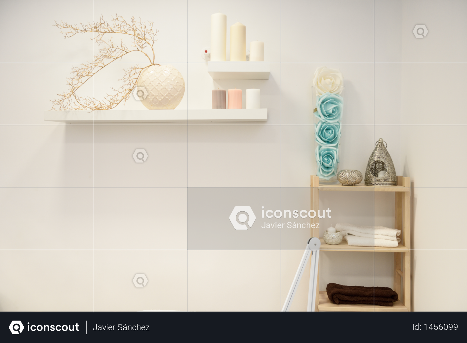 Decoration details in modern wellness center with flower vase and candles. Beauty and Aesthetic concepts. Photo