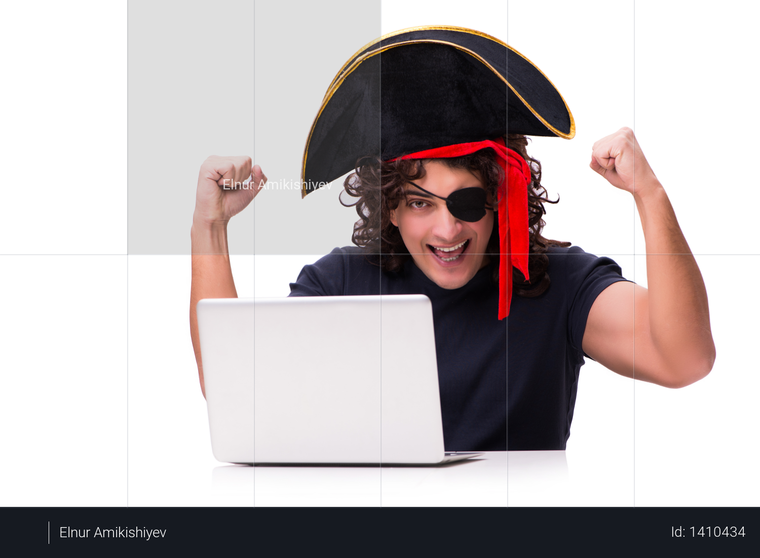 Digital security concept with pirate isolated on white Photo