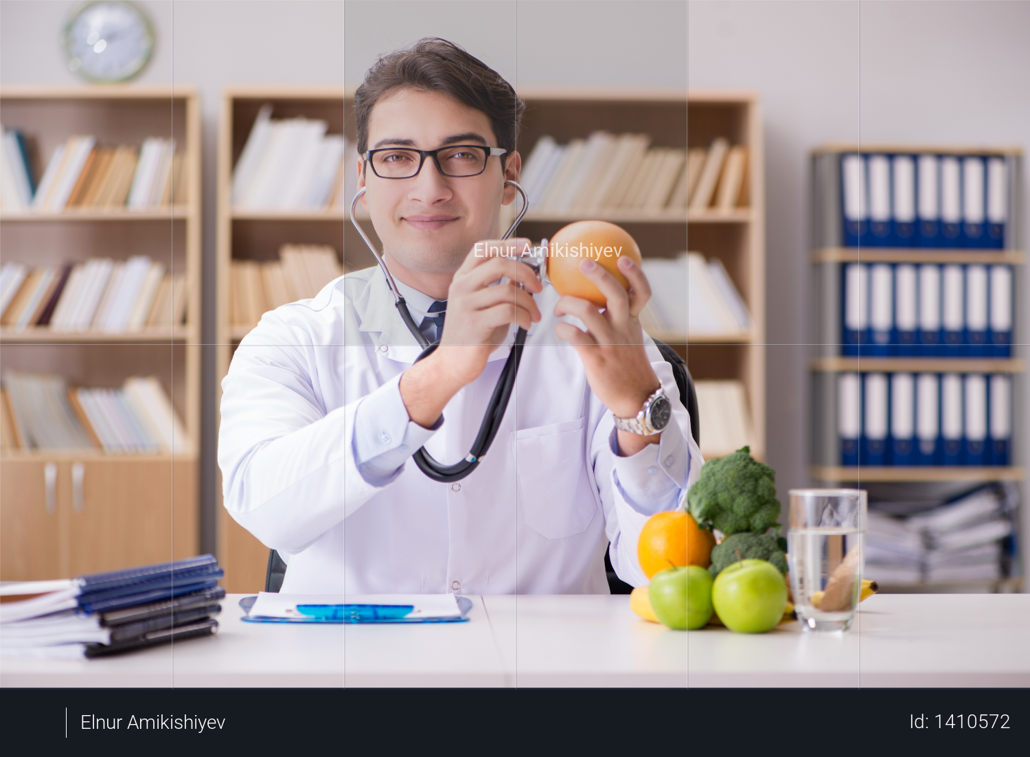 Doctor in GMO food concept Photo