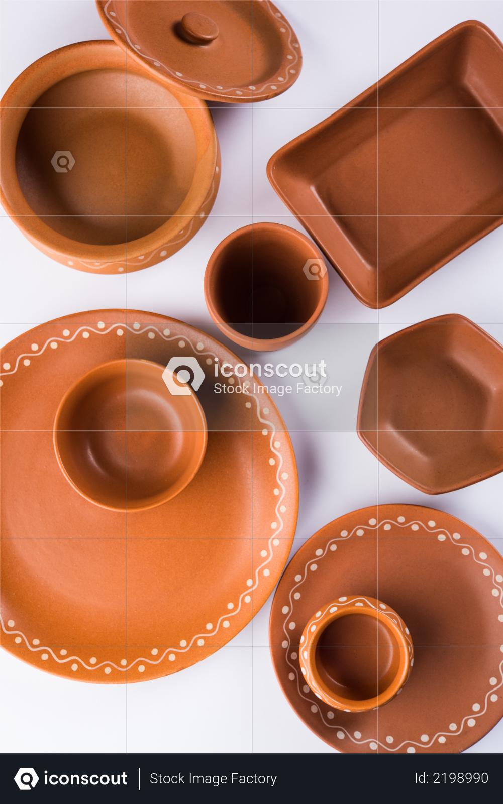 Premium Empty terracotta dinnerware or