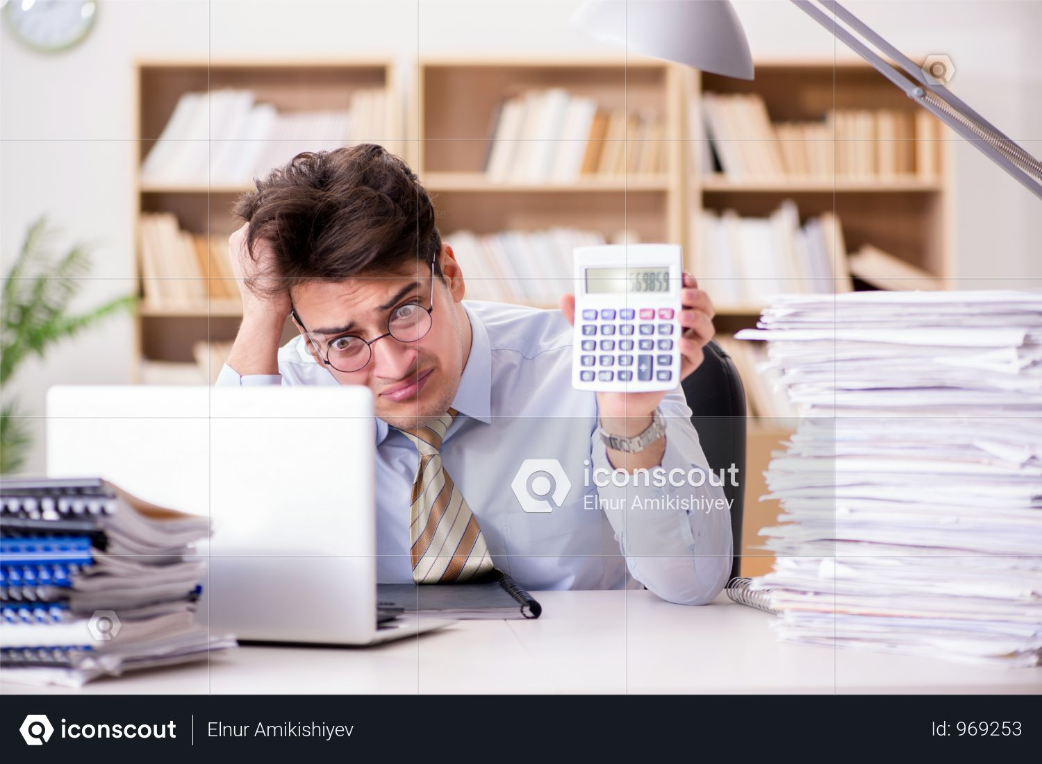 Funny Accountant Bookkeeper Working In The Office Photo