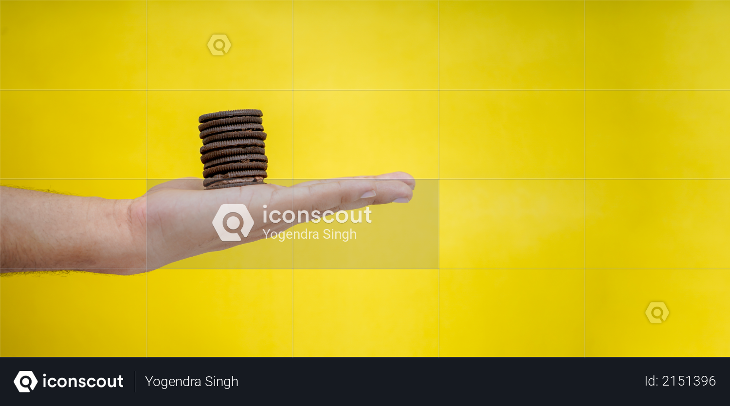 Hands holding chocolate biscuits on a yellow background with copy space Photo
