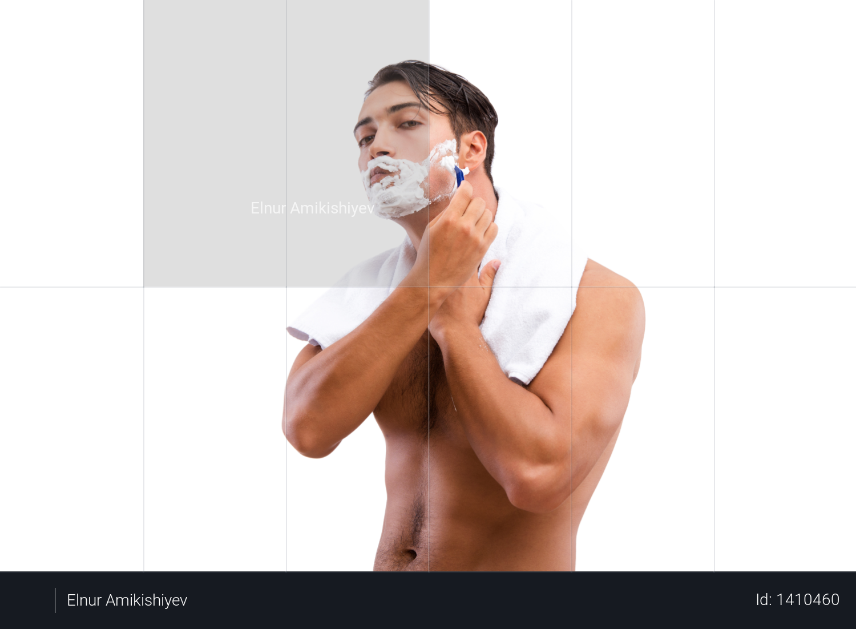 Handsome man shaving isolated on white Photo