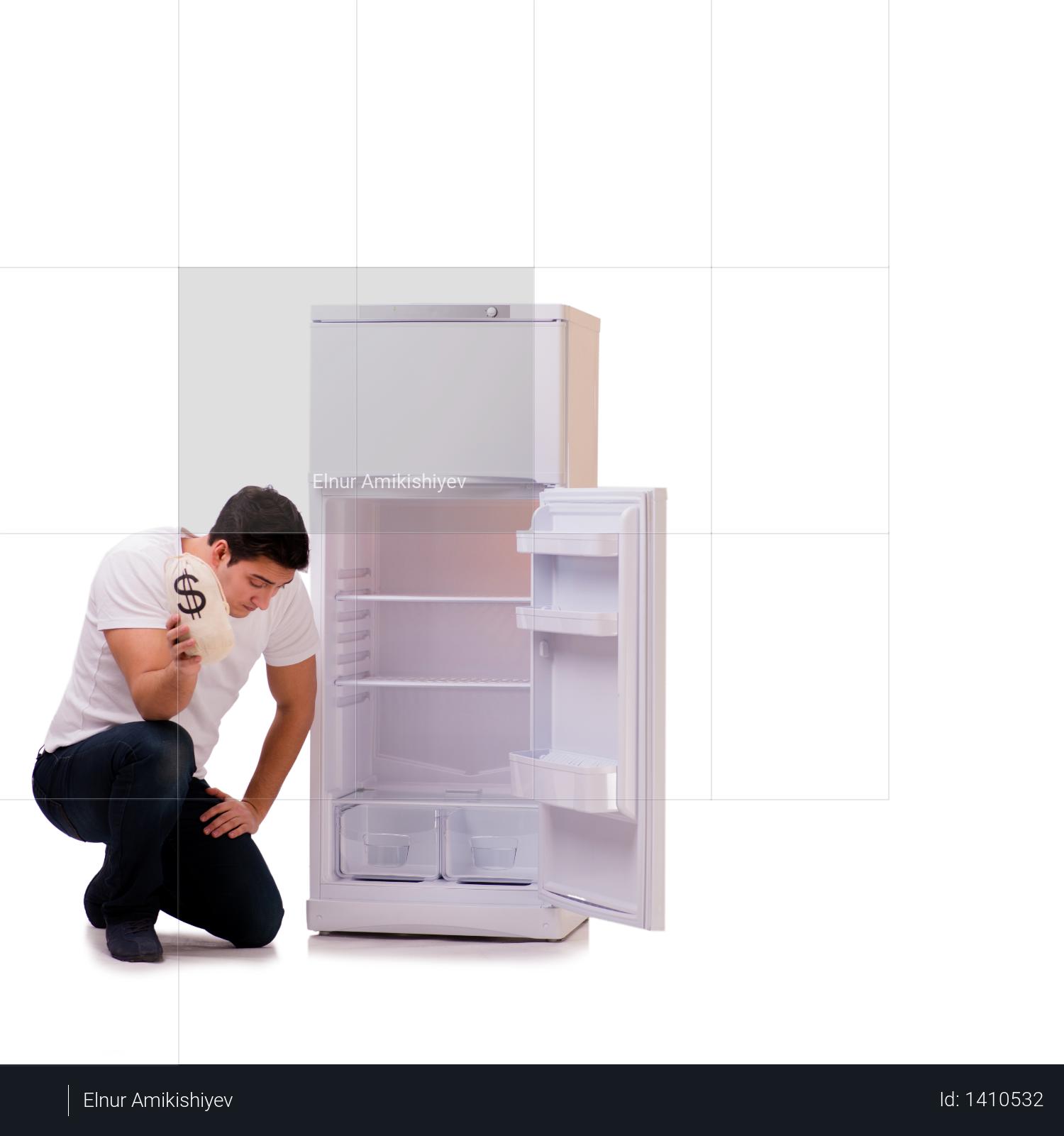 Hungry man looking for money to fill the fridge Photo