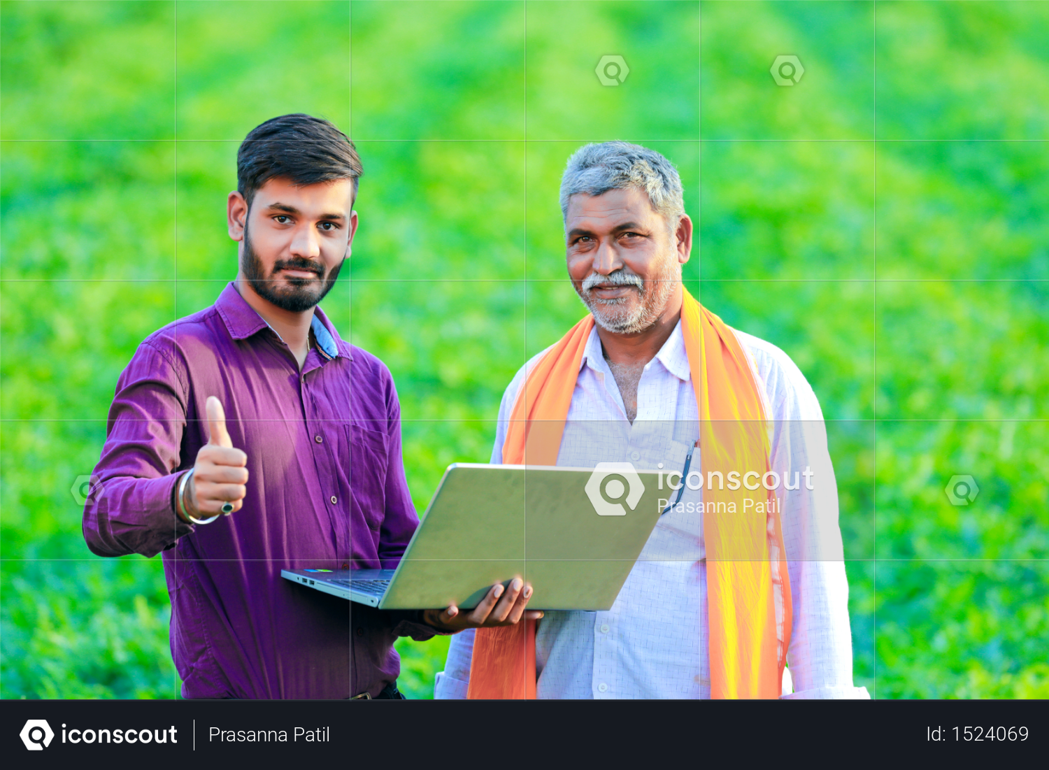 Indian agronomist with farmer at field Photo