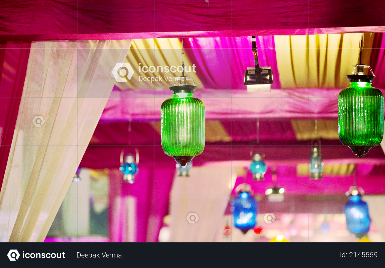 Light bulb decor in outdoor party & Wedding Photo