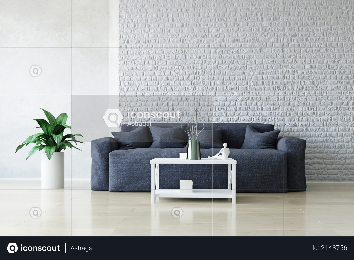 Modern Blue Sofa with Pillows and Table near the White Brick Wall, Green Plant on the Wooden Floor, Fashion Decor, Living Room Conceptual Style, 3D Rendering Trendy Art Graphic Design Photo