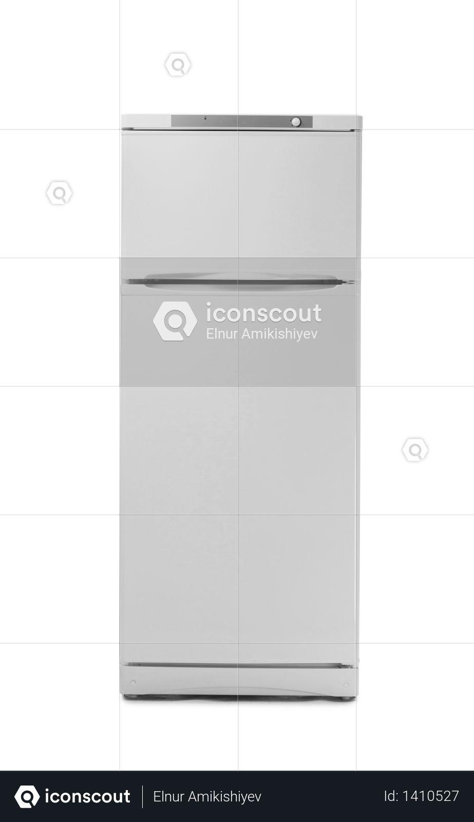 Modern fridge isolated on white background Photo