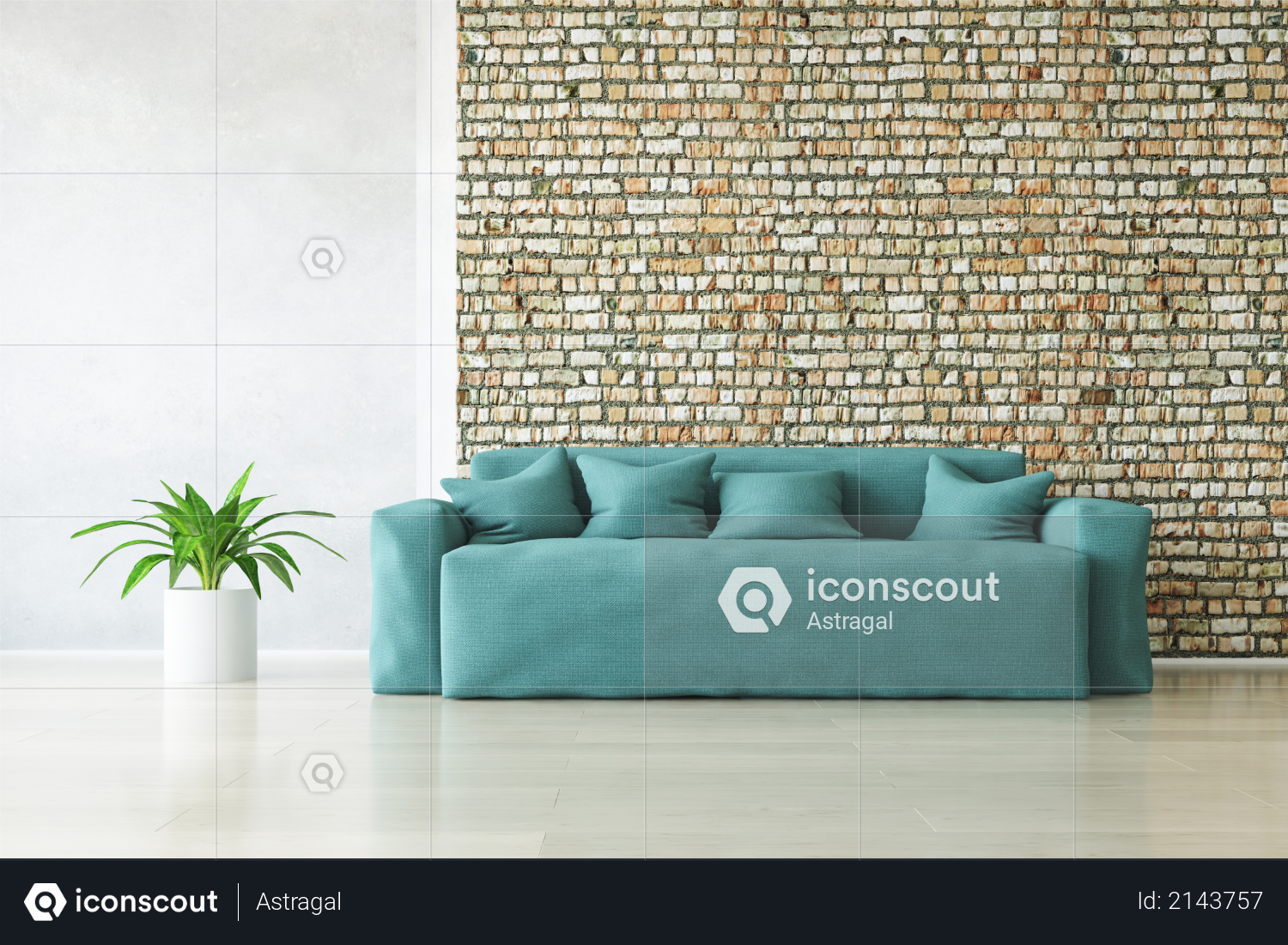 Modern Turquoise Sofa with Pillows and Plant near the Stylish Brick Wall on the Wooden Floor, Fashion Decor, Living Room Conceptual Style, 3D Rendering Trendy Art Graphic Design Photo