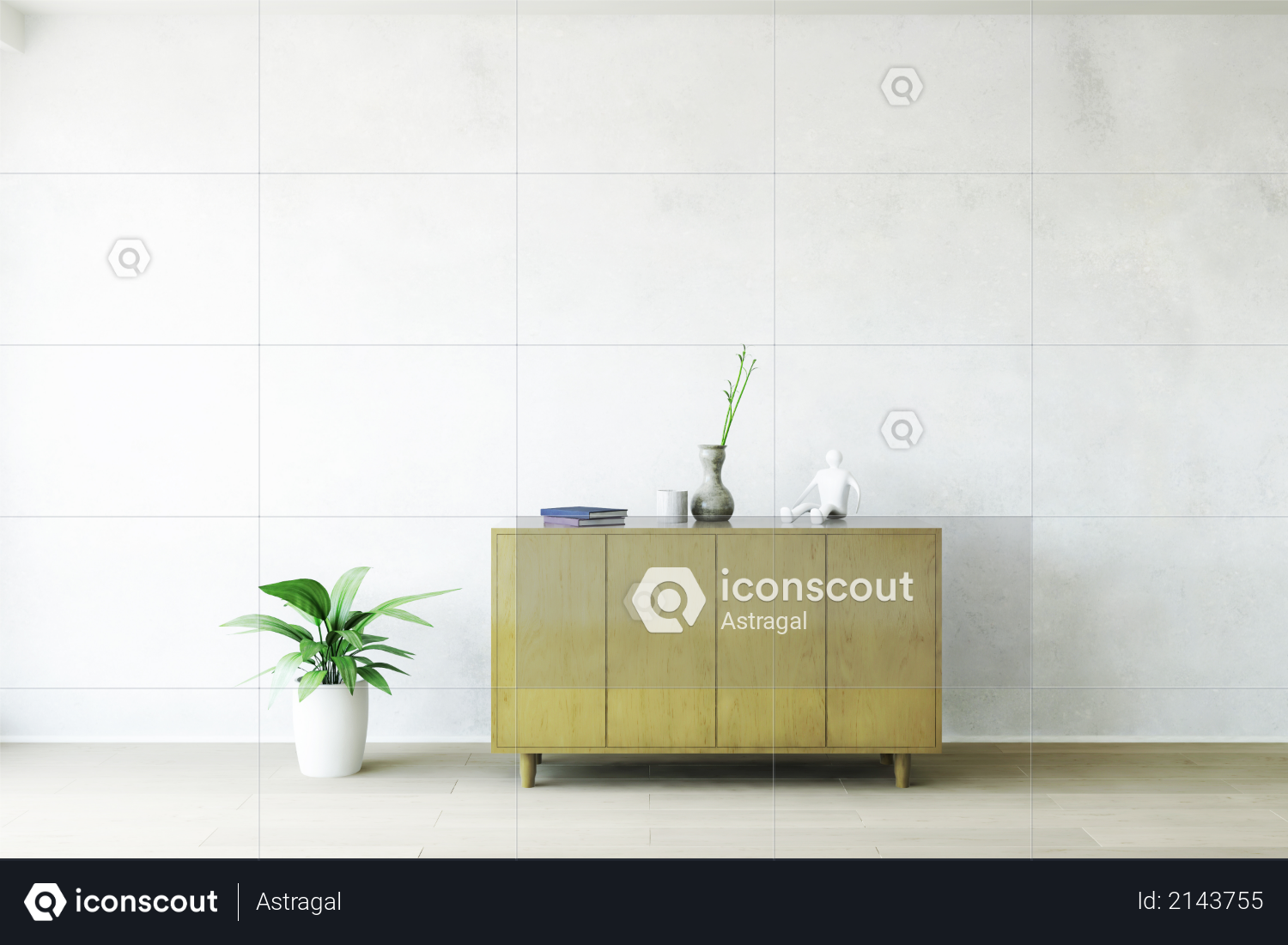Old Wooden Commode with Accessories near the White Plaster Dirty Wall, Green Plant on the Wooden Floor, Fashion Decor, Living Room Conceptual Style, 3D Rendering Trendy Art Graphic Design Photo