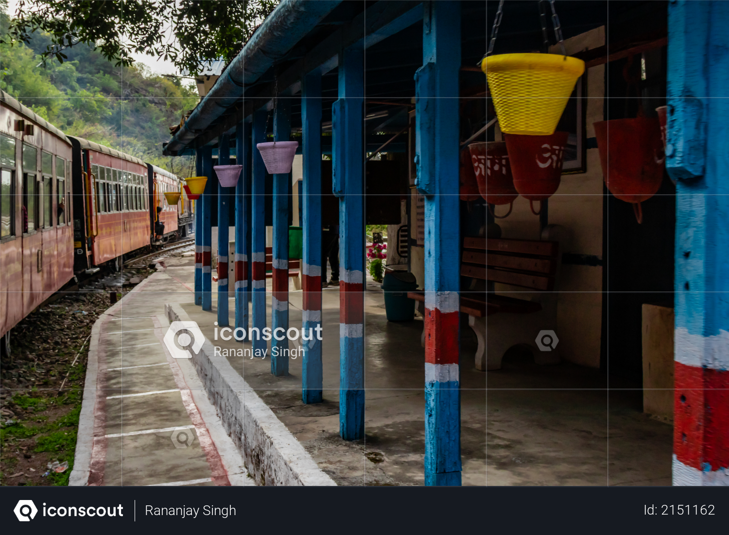Photography of railway station with a train passing by, travel concept Photo