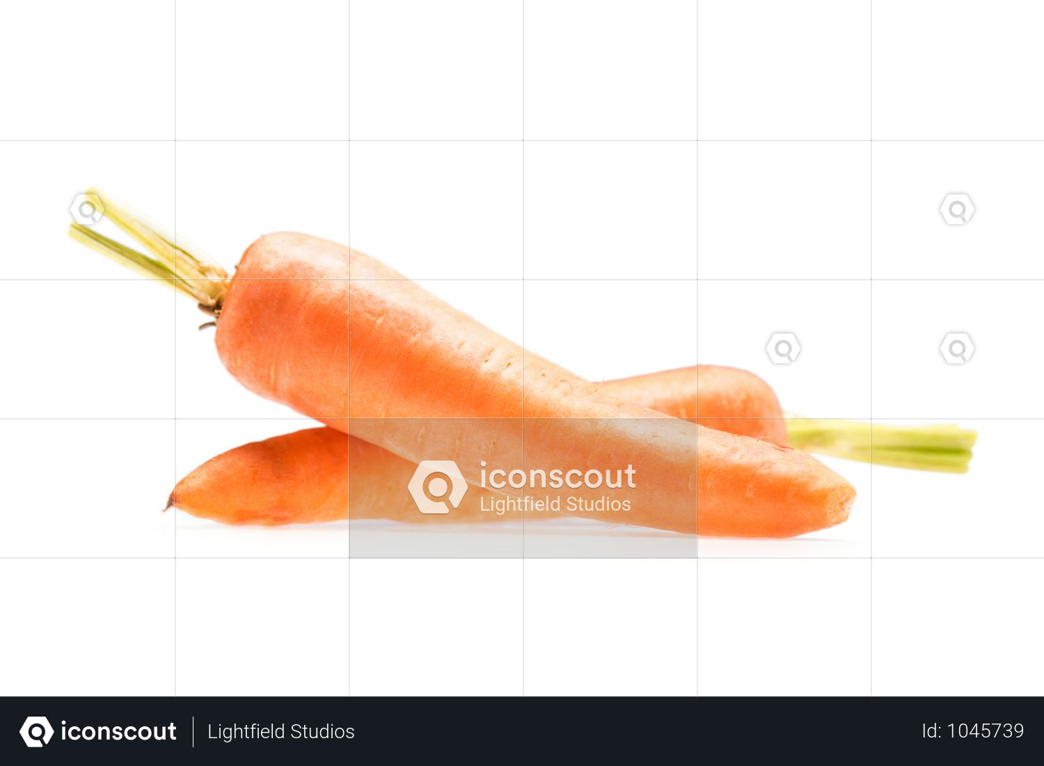 Pile Of Fresh Ripe Healthy Carrots Isolated On White Photo