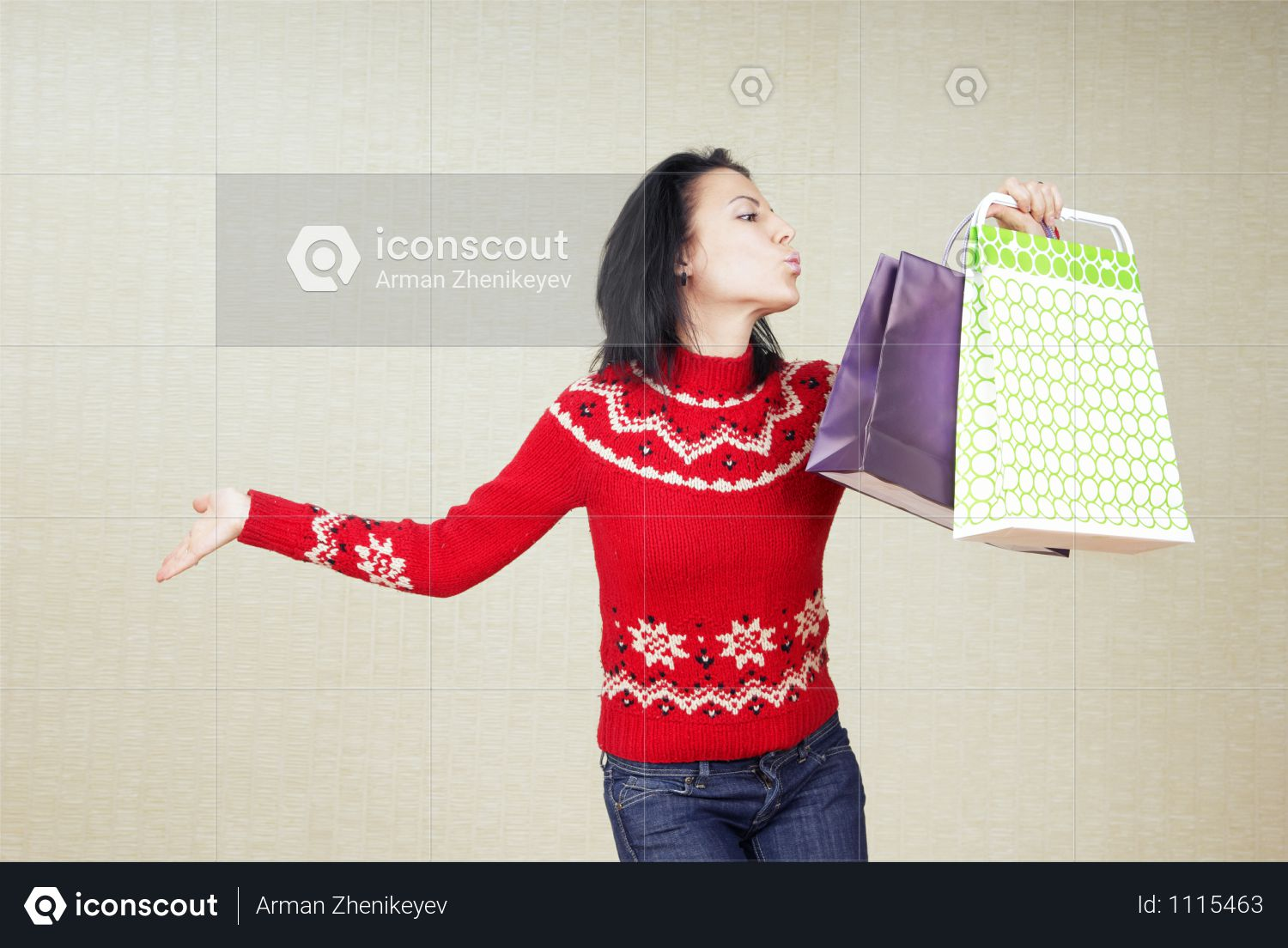 Premium Playful Lady With Gift Bags In The Red Sweater Photo Download In Png Jpg Format