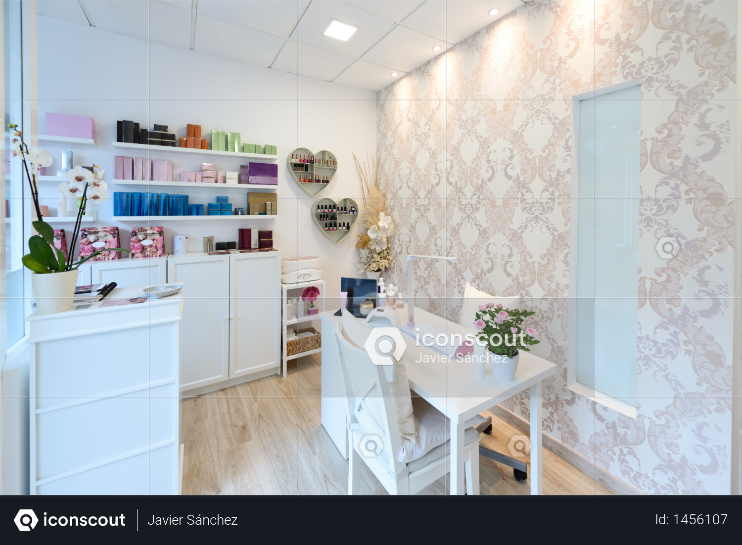 Reception of beauty, wellness and spa salon. Aesthetic concept. Photo