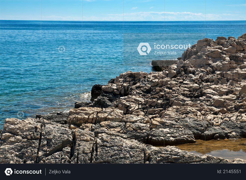 Rocky coast of the island of Losinj in Croatia Photo