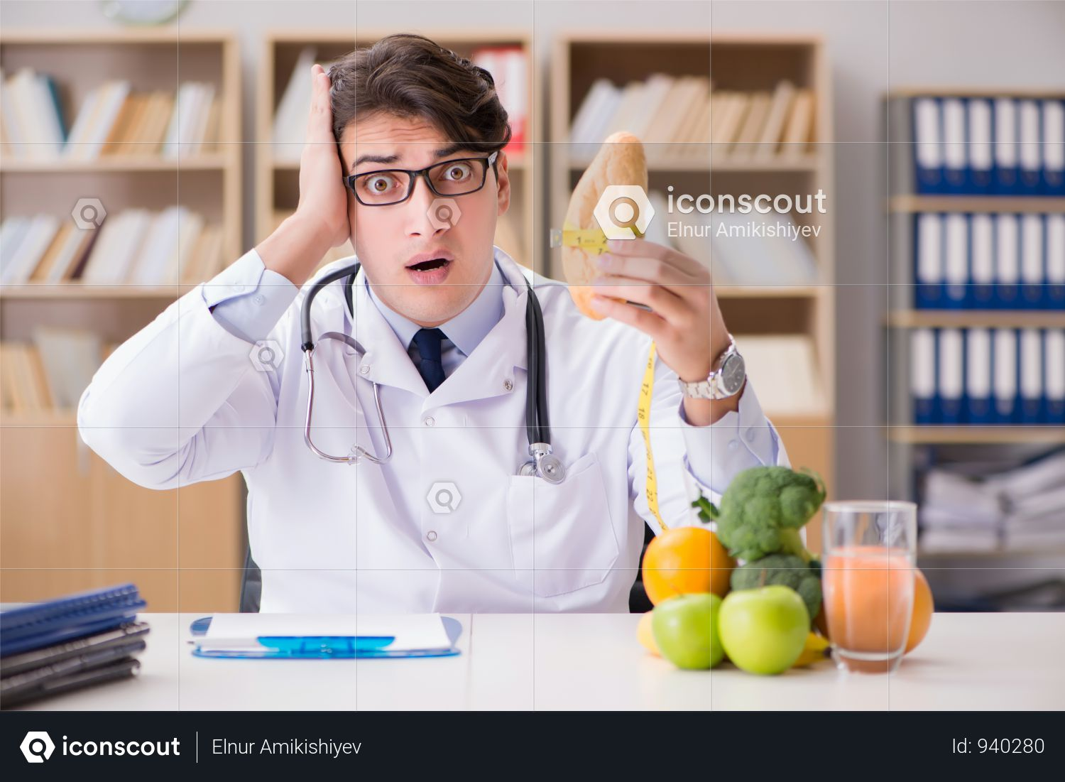 Scientist Studying Nutrition In Various Food Photo