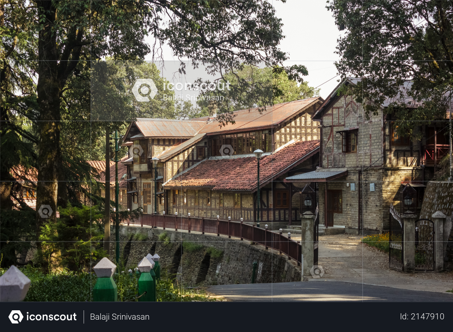 Shimla, Himachal Pradesh, India - May 2012: An old colonial era building made of stone in the Himalayan hill station. Photo