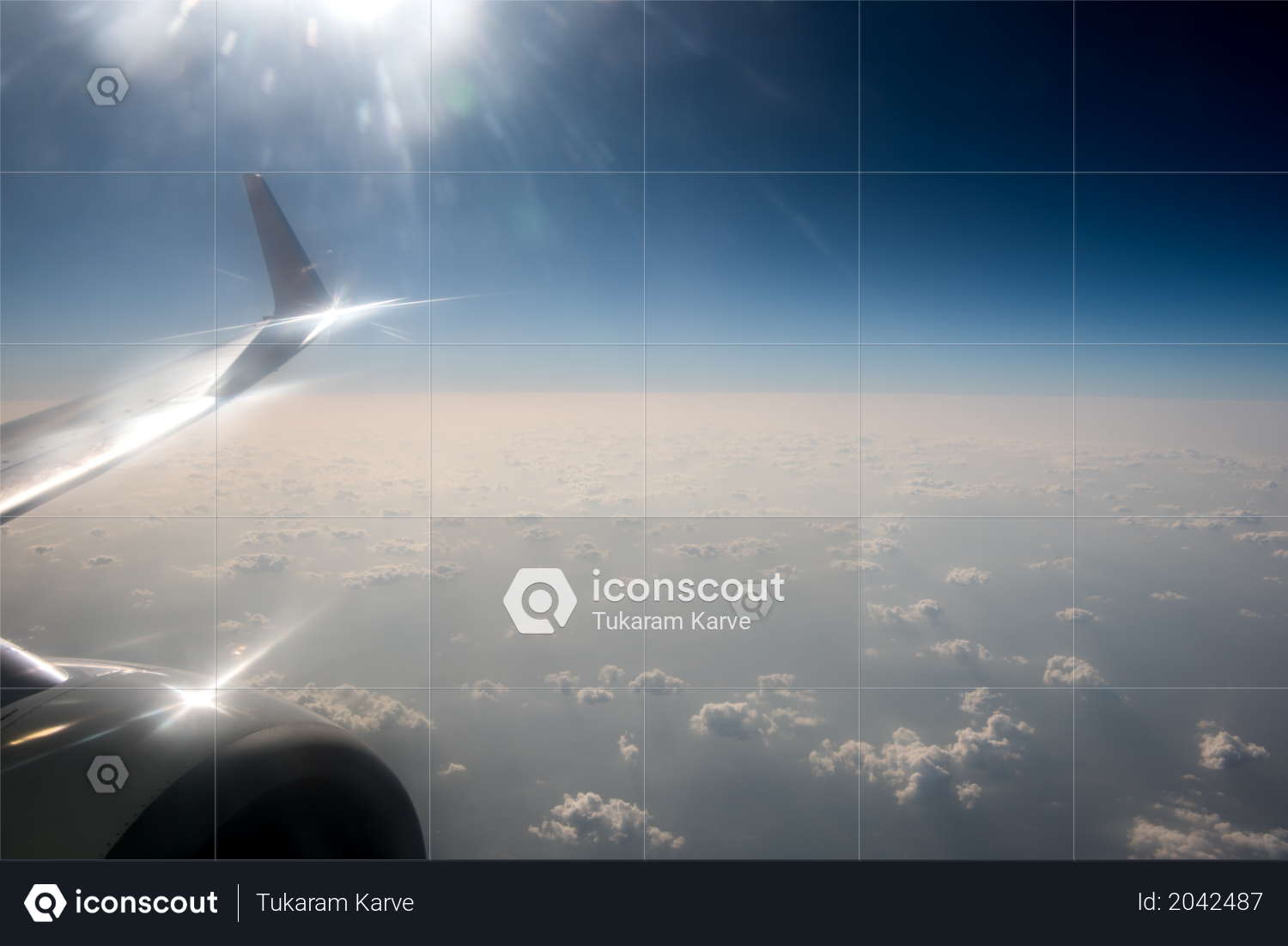 Premium Sky View Through An Airplane Window View Of Clouds And