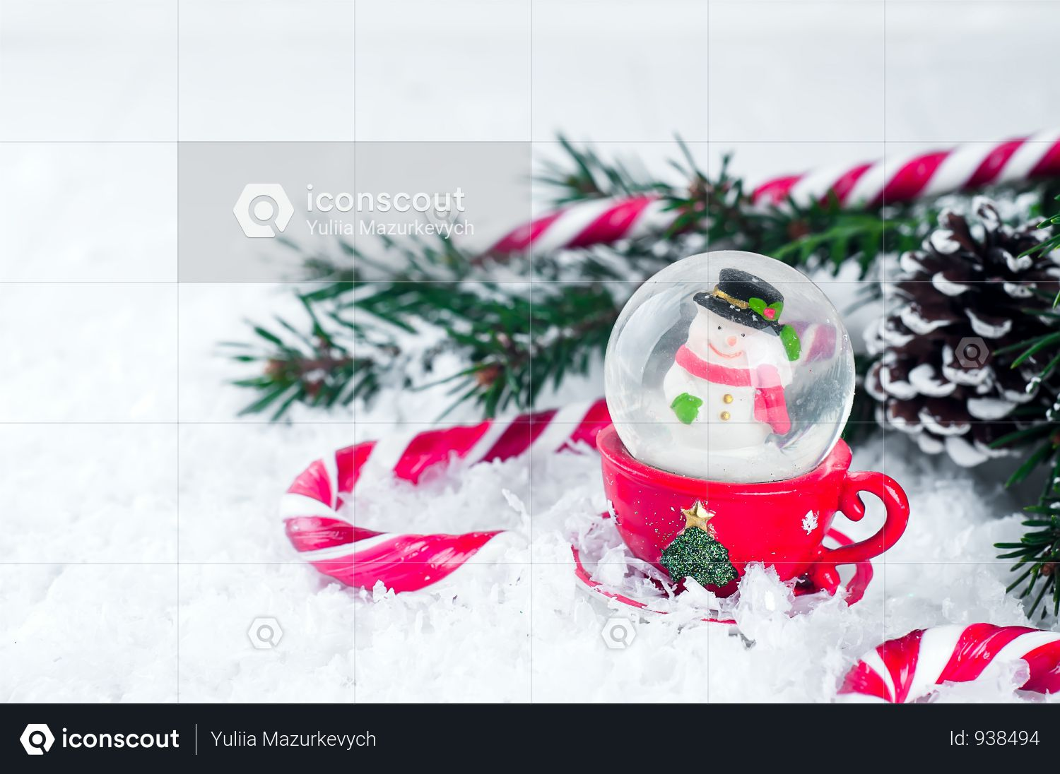 Snow Globe With Snowman On Festive Background Photo