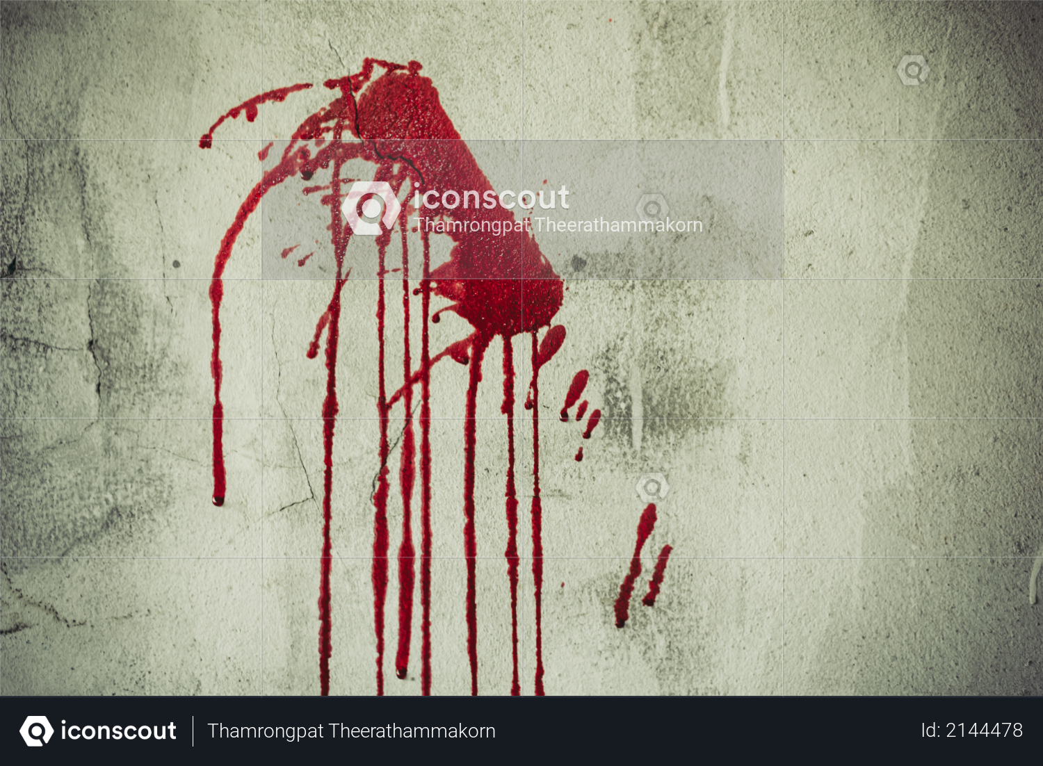 Splatter of red blood on wall in abandoned house, Halloween festival and event, Murder and Killer theme, Background for horror and scream film presentation - Criminal and social issues concept Photo