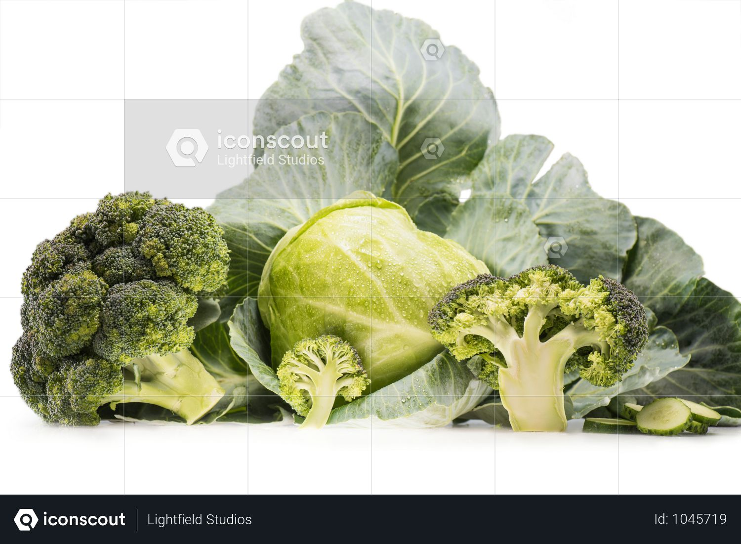 Still-life Of Healthy Fresh Cabbage And Broccoli Isolated On White Photo