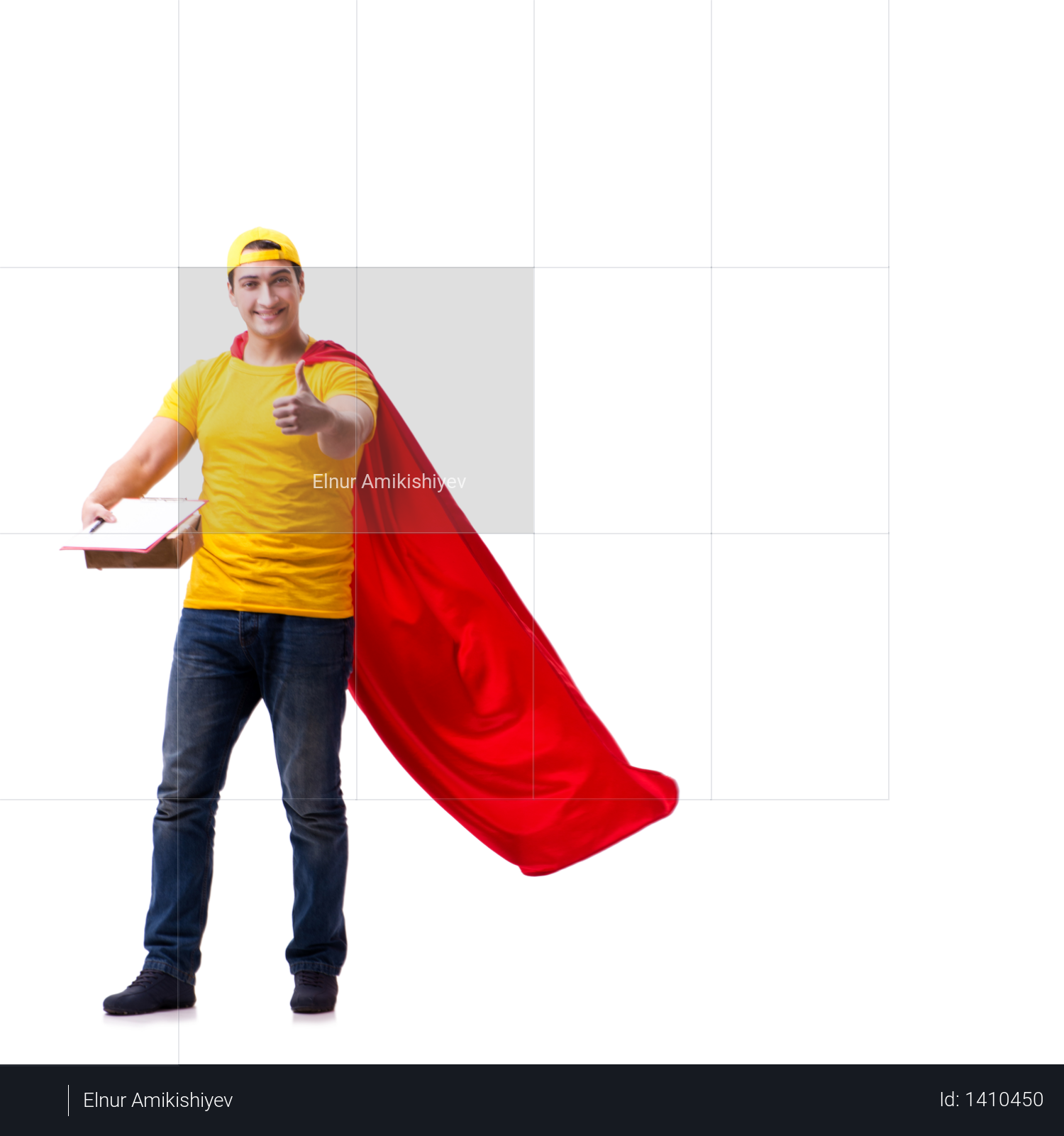 Super hero delivery guy isolated on white Photo