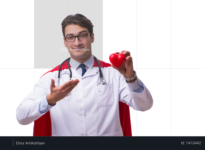 Super hero doctor isolated on white Photo