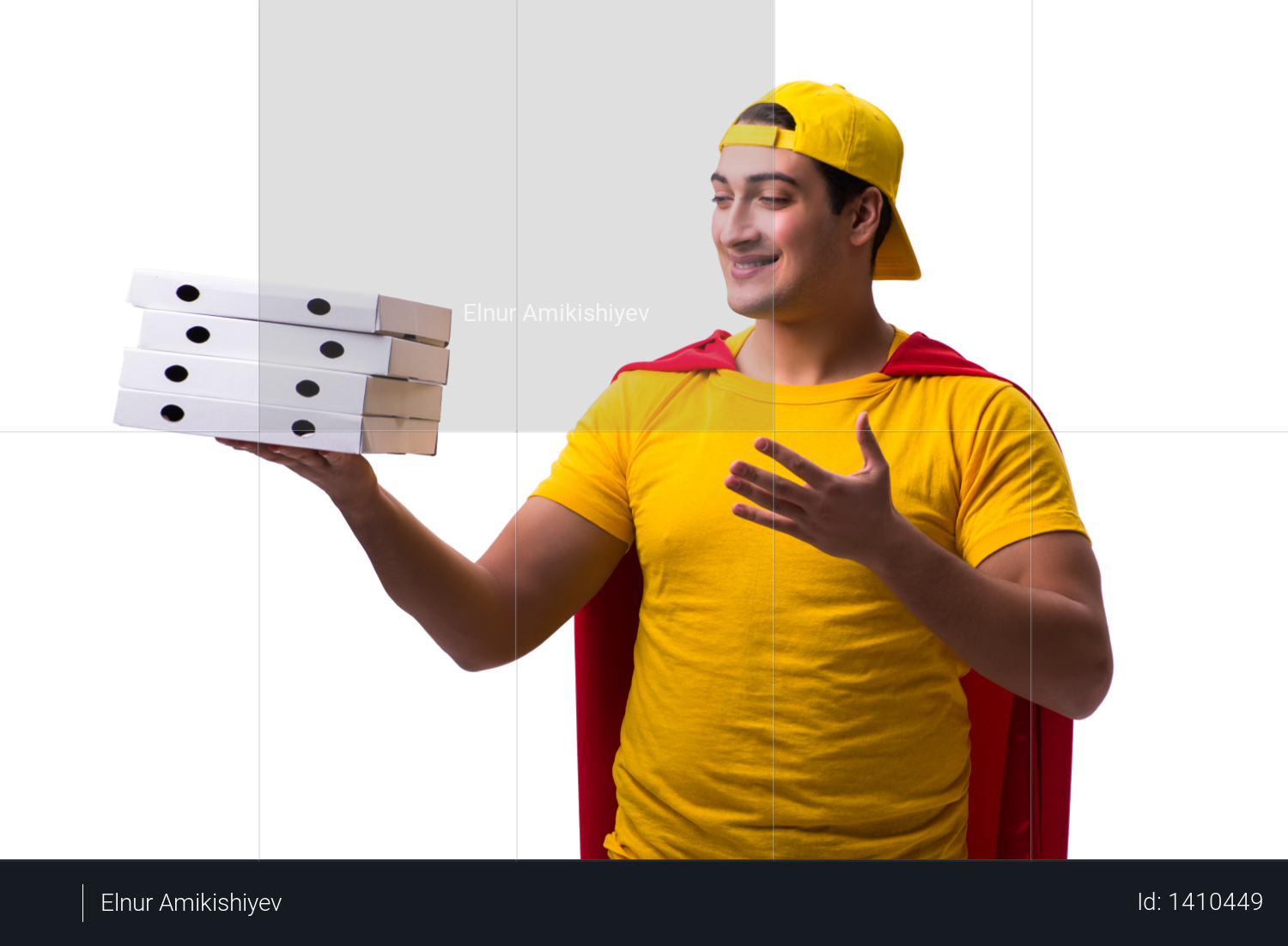 Super hero pizza delivery guy isolated on white Photo