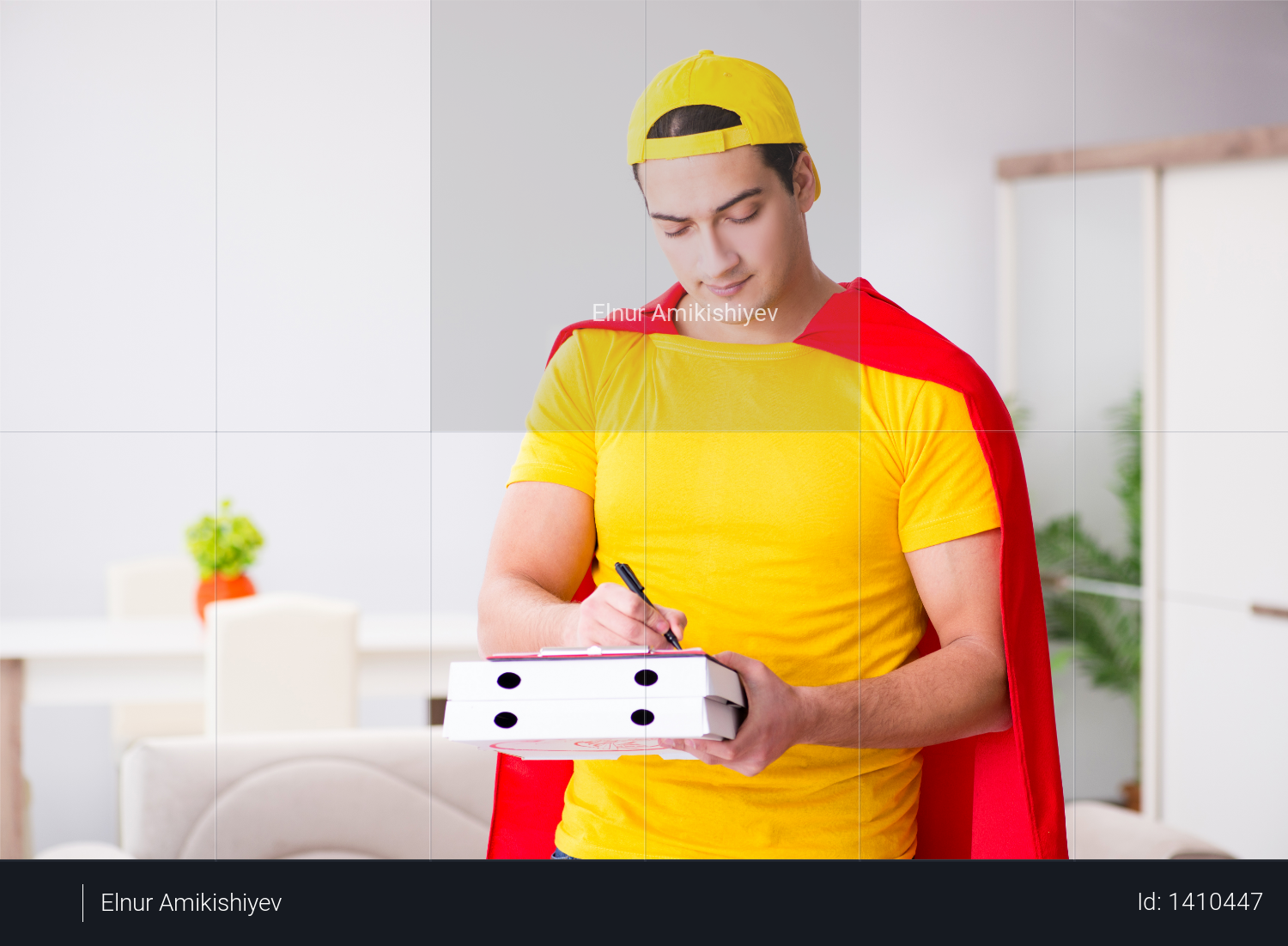 Superhero pizza delivery guy with red cover Photo