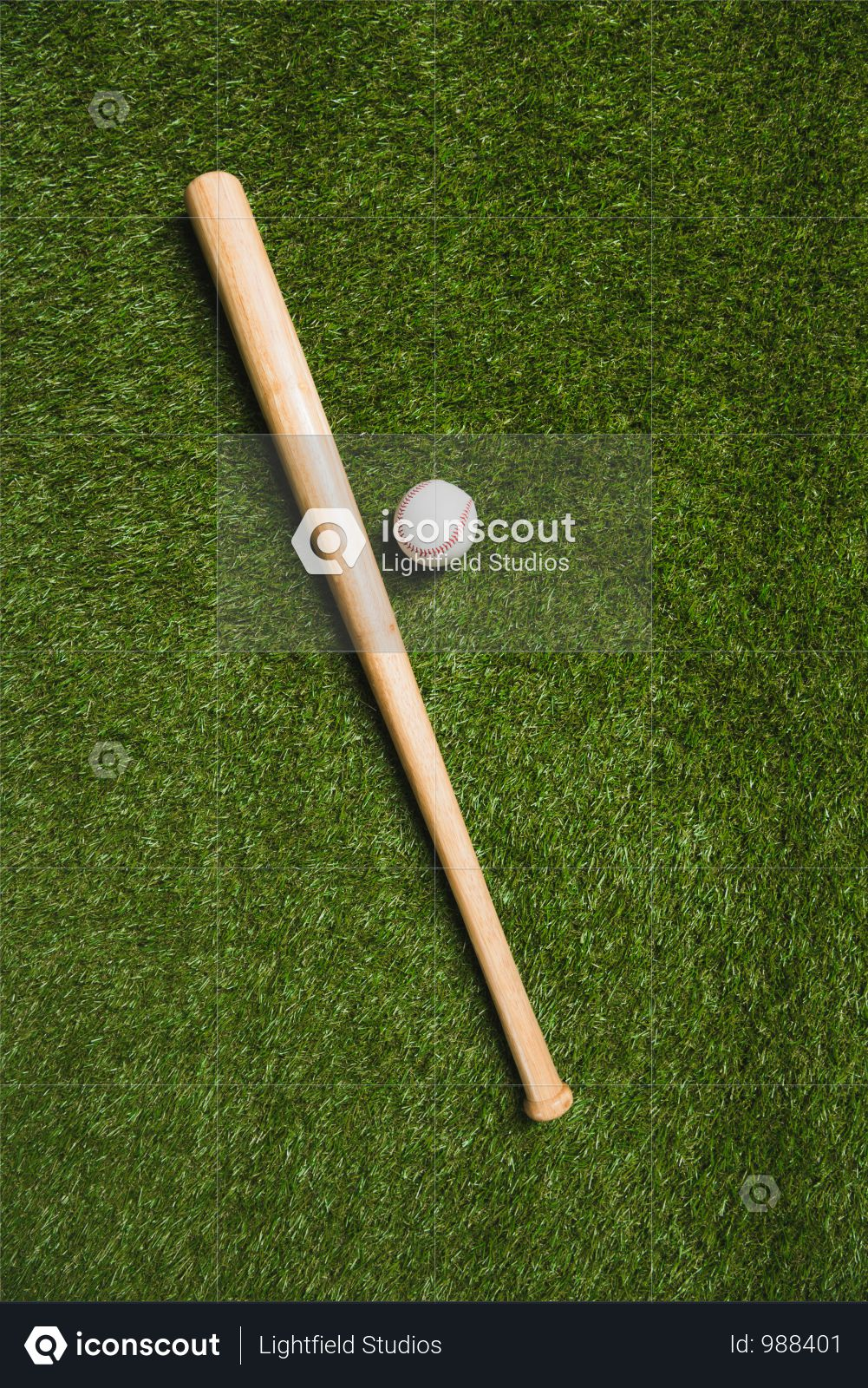 Top View Of Baseball Bat And Ball On Grass Field Photo