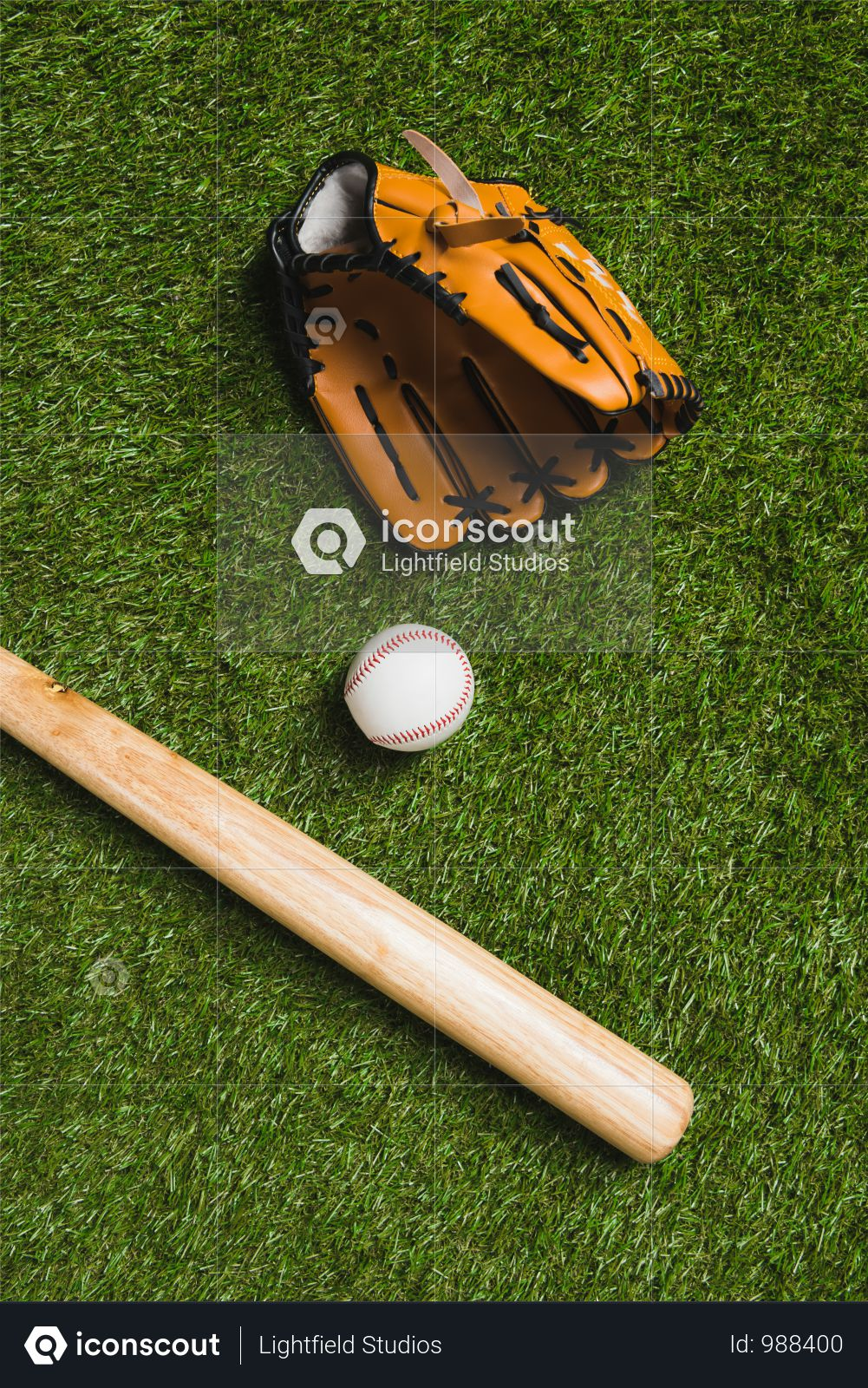 Top View Of Baseball Bat With Ball And Glove On Grass Photo
