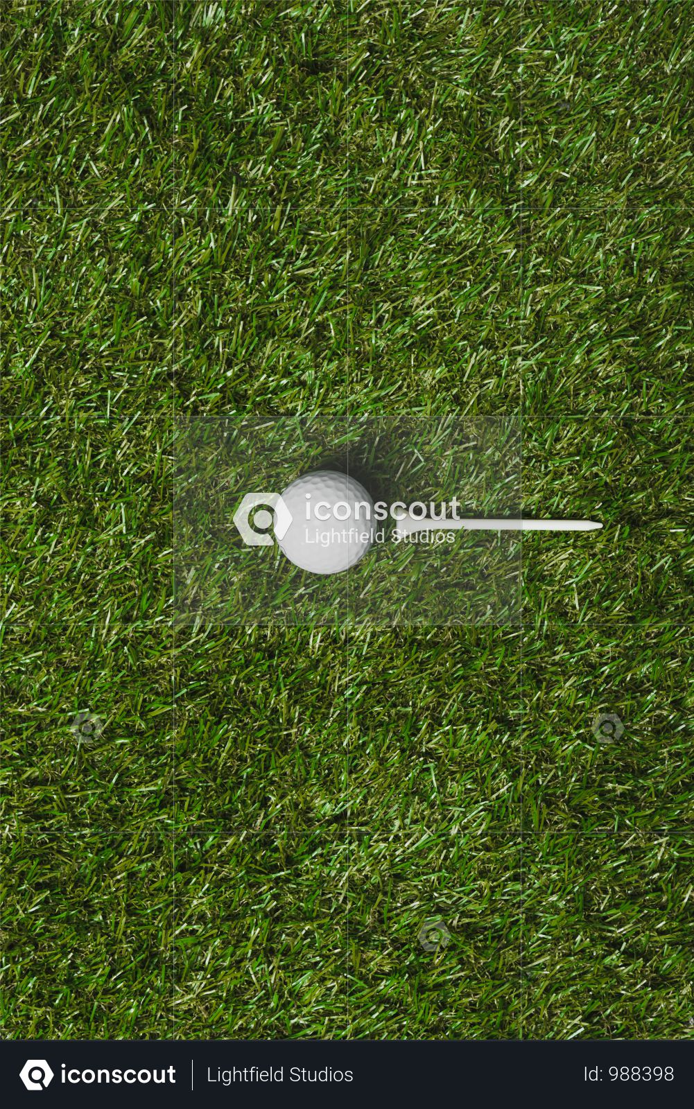 Top View Of Golf Ball And Tee On Grass Field Photo