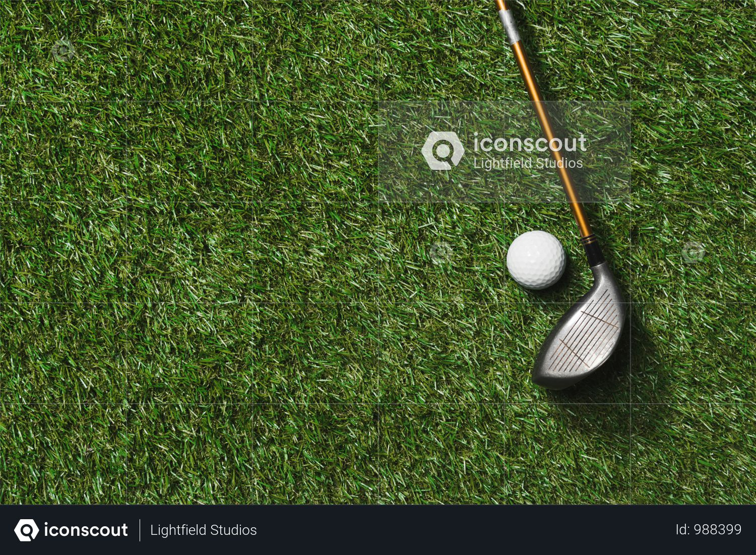 Top View Of Golf Club And Ball On Grass Field Photo